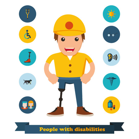 flat icons people with disabilities  Illustration