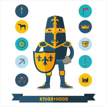 chivalry: flat icons with knight  Illustration