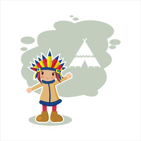 female shaman: the Indian  Illustration