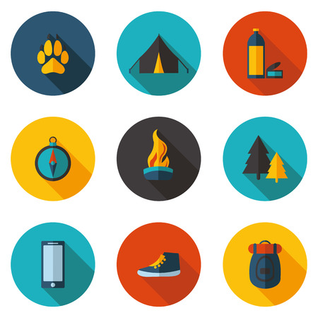 flat: flat camping flat icons
