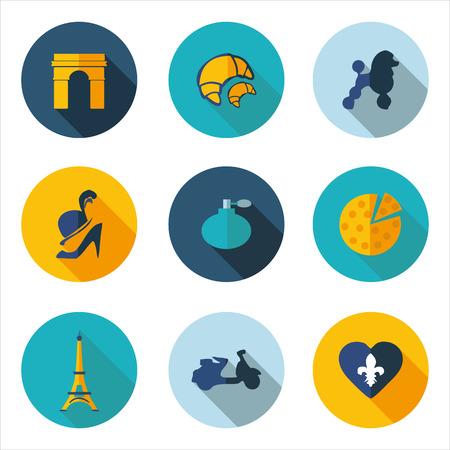 stereotypes: France, best flat icons  Illustration