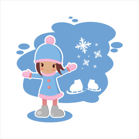 yea: the girl from the winter set than print,postcard for the winter Illustration