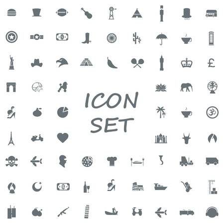 monotone: popular set of monotone flat icons  Illustration