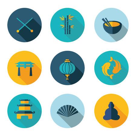 chinese buddha: Japan China best flat icons Illustration