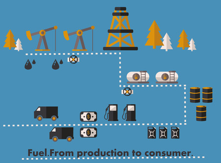 crude: infographics path from crude oil production to sale to the consumer