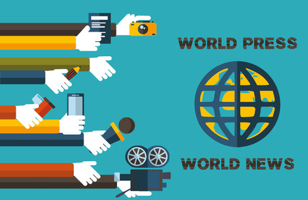 world press-world news-the slogan of modern and truthful press in our time Illustration