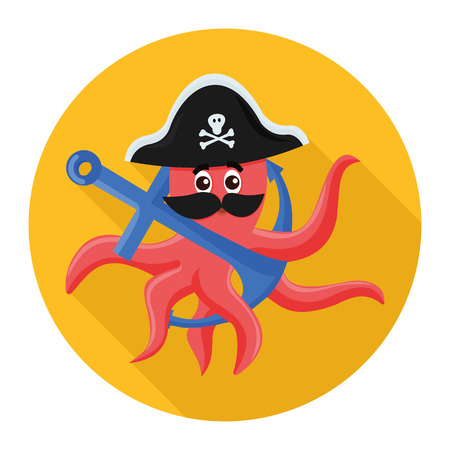 grappling: flat icon octopus pirate