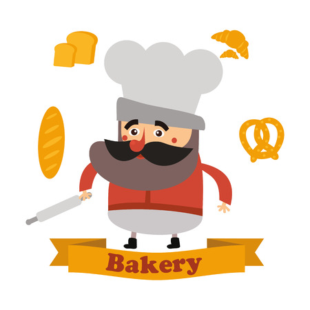 commercial painting: Baker and cake in vector format,designed in a modern flat style. A great sign for your bakery or pastry shop.