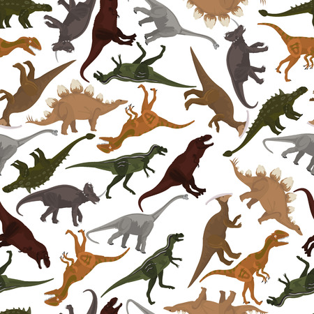 seamless pattern with dinosaurs in vector format