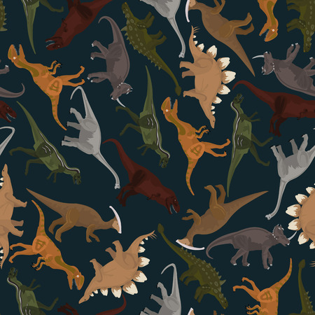 mesozoic: dark seamless pattern with dinosaurs in vector format Illustration