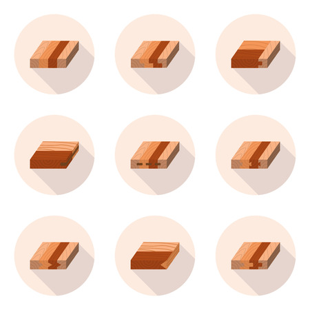 grooves: methods of fastening wood products in vector format