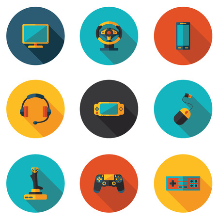 psp: flat icons computer games in vector format