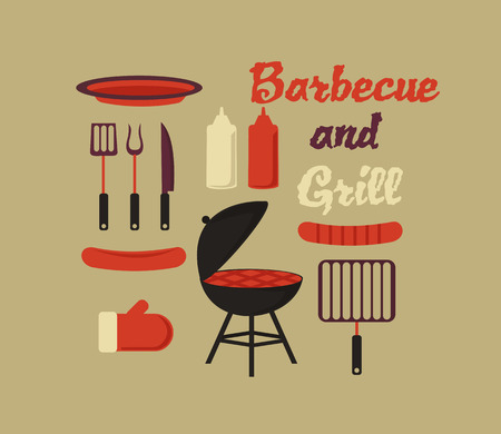 barbecue grill: barbecue and grill flat icons in vector format.