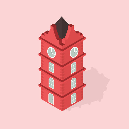 clock tower: the clock tower isometric  Illustration