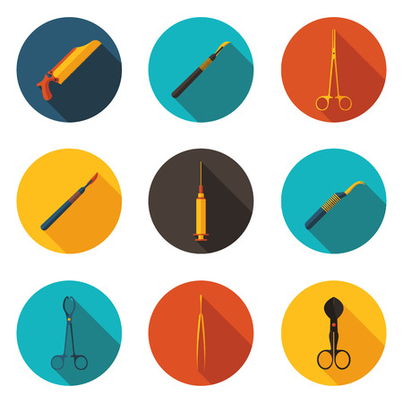 forceps: flat icons medical instruments  Illustration