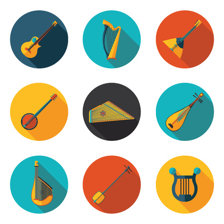 stringed: stringed musical instruments flat icons