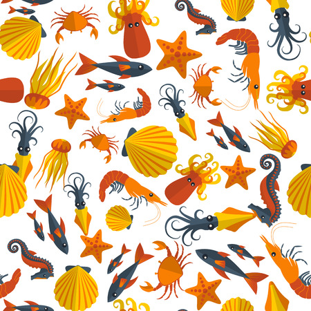 anchovy: seafood seamless pattern