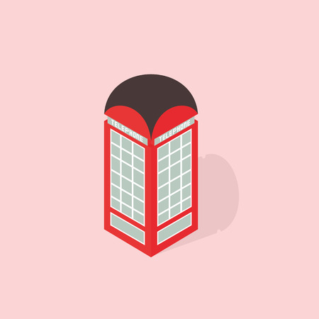 phone booth: phone booth isometric  Illustration