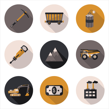 mining: flat icons mining  Illustration