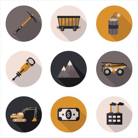 mining: iconos planos minera Vectores