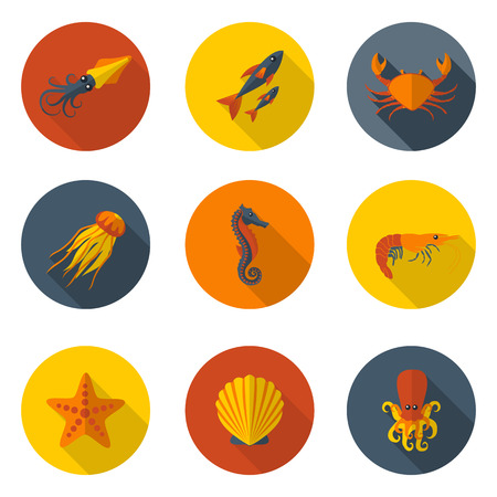 tropical: marine animals flat icons