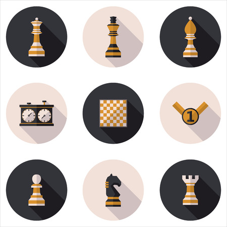 chess piece: flat chess icons