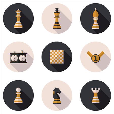ajedrez: Iconos de ajedrez planas Vectores