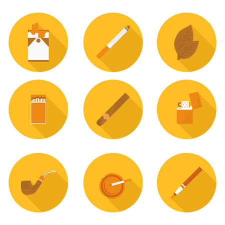 ashtray: flat icons Smoking accessories in vector format