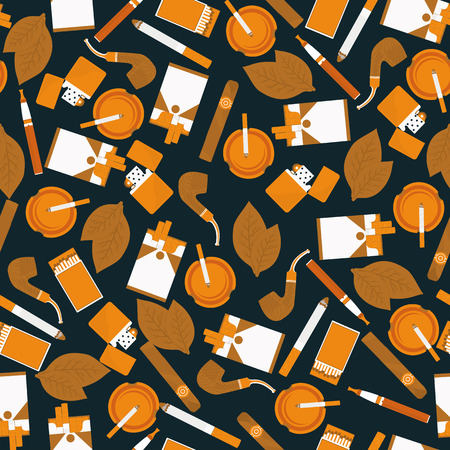 toxic product: dark seamless pattern of smoking accessories in vector format