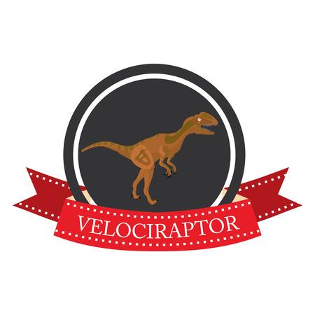 mesozoic: flat icon dinosaur VelociRaptor in vector format Illustration