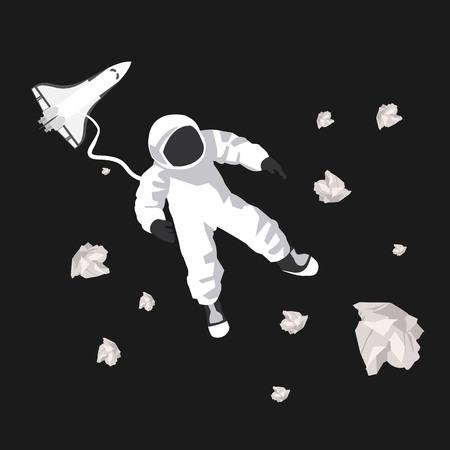 ベクトル形式の空間で宇宙飛行士のイラスト  イラスト・ベクター素材