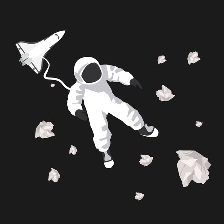 weightlessness: illustration of astronaut in space in vector format
