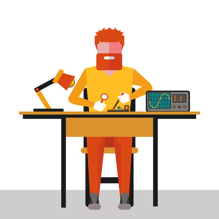 maintenance worker: illustration of the repair of electronics in vector format Illustration