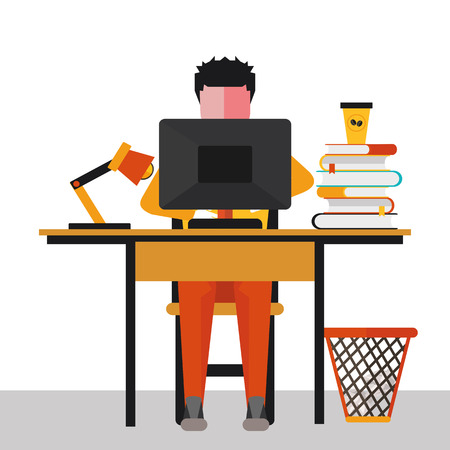 overloaded: illustration of office worker at Desk in vector format