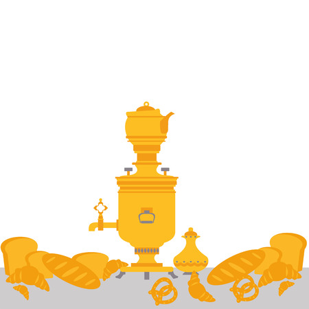 samovar: tea party with samovar in vector format Illustration
