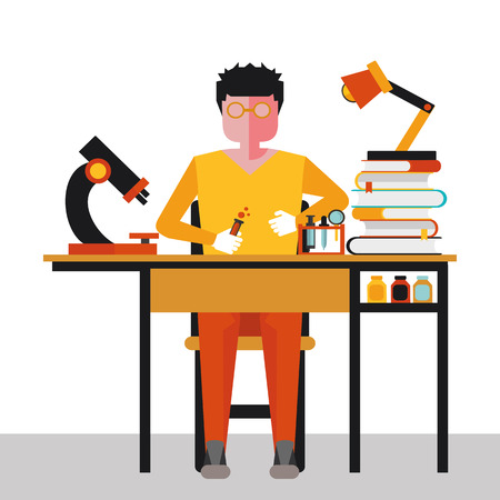 physicist: illustration of a scientist in the workplace in vector format