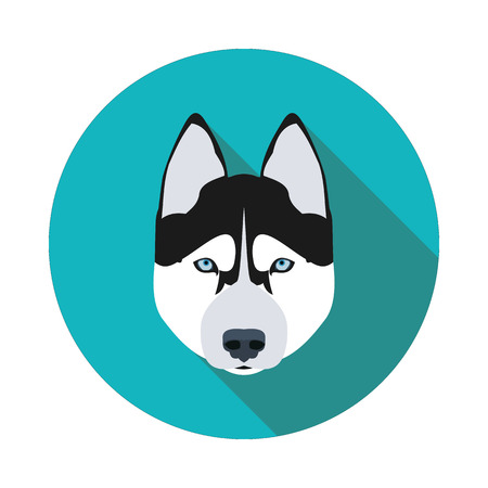 flat icons dog husky in vector format