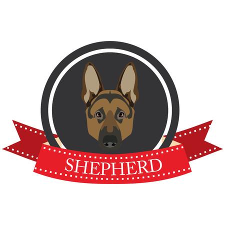 pastor: plana icono de pastor alemán en formato vectorial Vectores