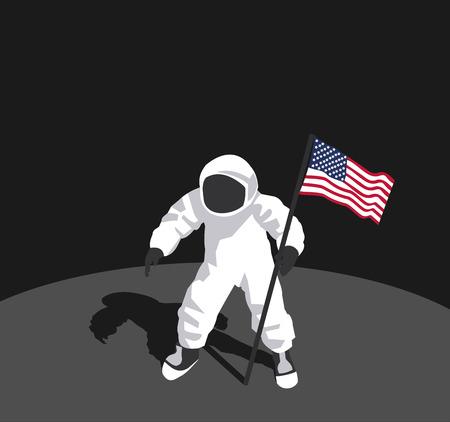 illustration of the moon landing in vector format