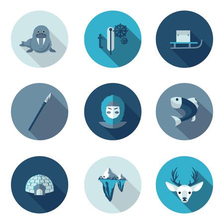 vlakke pictogrammen Eskimo in vector-formaat