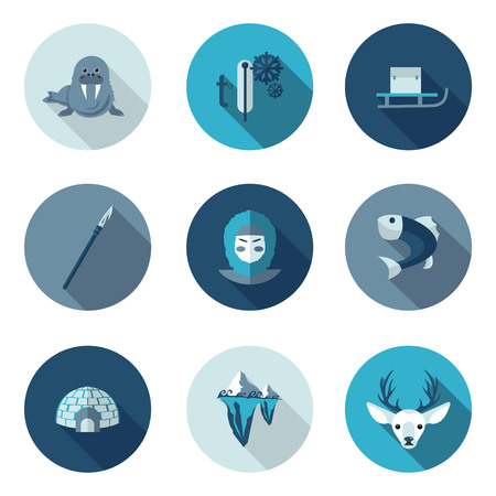 flat icons eskimo in vector format Illustration