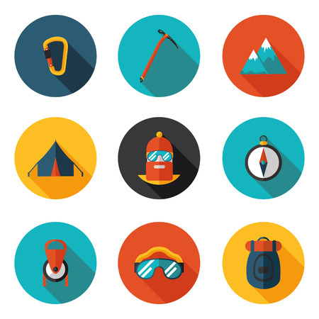 flat icons of mountaineering in vector format
