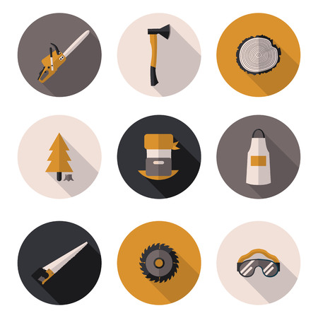 forestry: flat icons Woodman in vector format