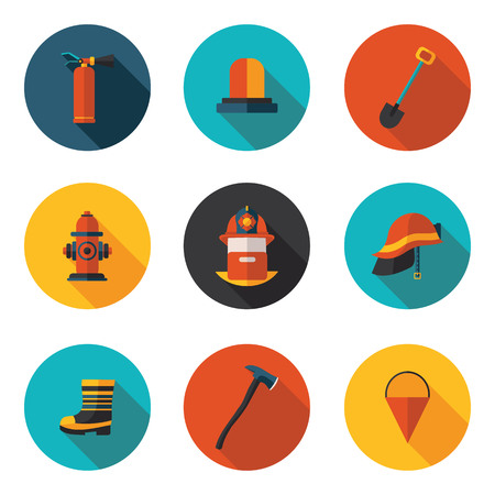 flat icons of firefighter in vector format Illustration