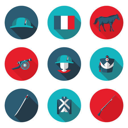 cavalry: flat icons Napoleon in vector format Illustration
