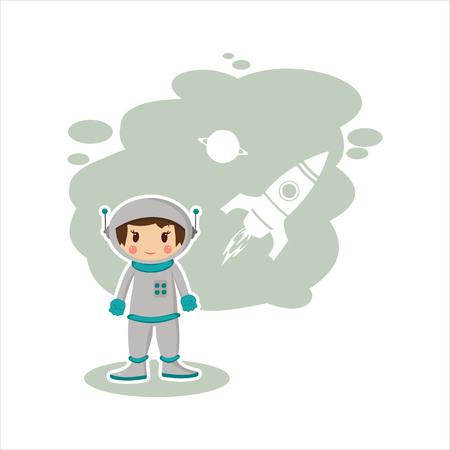 outer clothing: best flat boy astronaut Illustration