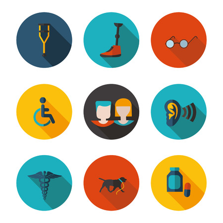 guide dog: flat icons people with disabilities