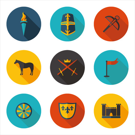 middle: flat icons of the middle ages