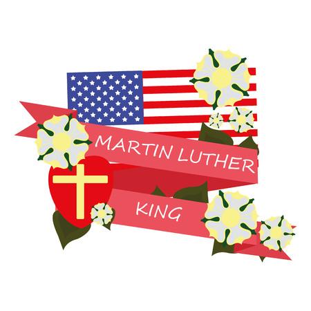 martin: greeting ribbon day Martin Luther king Illustration