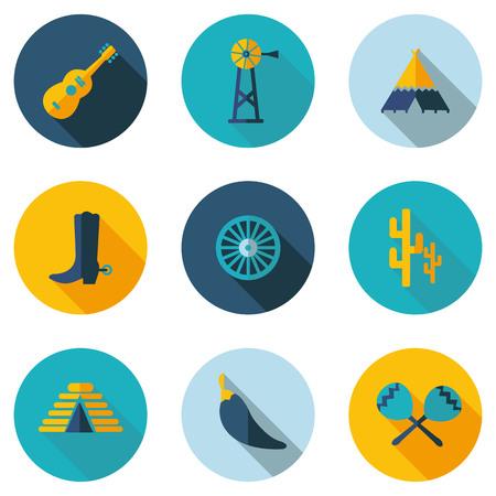 quetzalcoatl: Peru and Mexico flat icons